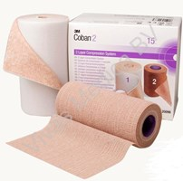 Verbandmiddel, Compressie Systeem, Coban 2, 3M,  Latexvrij, 2 laags compressiesysteem