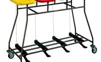 Wagens, Combiwagen, RVS Wasverzamelaar 4 rings, met voetbediening,deksel en duwbeugel, vierkant