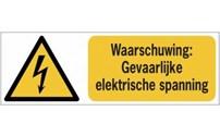 BHV Sticker, Pictogram,  ISO 7010 en W012, Gevaarlijke Elektrische Spanning