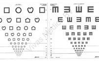 Oogheelkunde, Visuskaart, LEA Symbols, Tumbling E, Dubbelzijdig