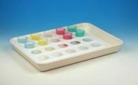 Medicatie, Medicatiebekertjes Tablet, Wit kunststof tablet met plexiglas inlay voor bekertjes